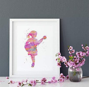 Little Girl playing Guitar Music Nursery Decor Watercolor Print - PrintsFinds