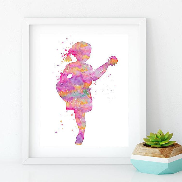 Little Girl playing Guitar Music Nursery Decor Watercolor Print