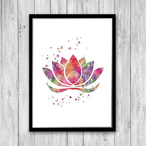 Lotus Flower Pink Watercolor Print - PrintsFinds