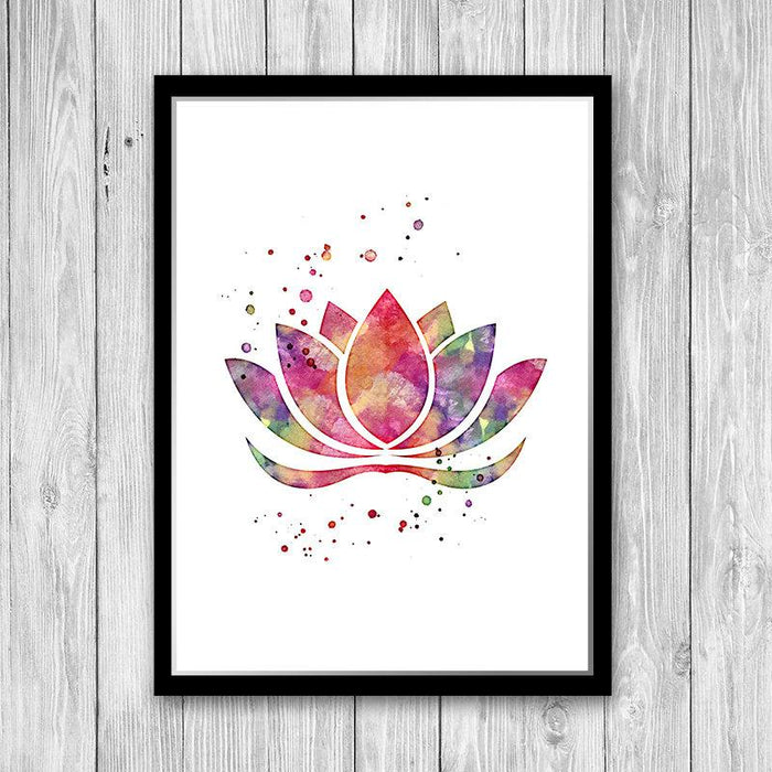 Lotus Flower Pink Watercolor Print