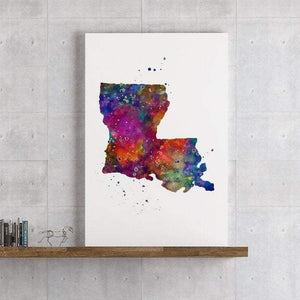 Louisiana State Map Watercolor Print - PrintsFinds
