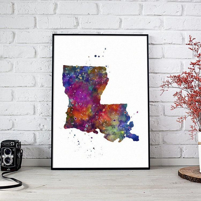 Louisiana State Map Watercolor Print