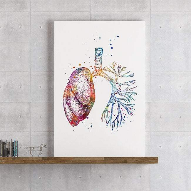 Lung Anatomy Watercolor Print