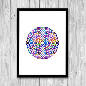 Mandala Art for Kids Room Watercolor Print - PrintsFinds