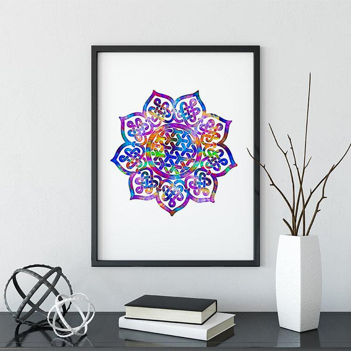 Mandala Print Watercolor Wall Art Yoga Meditation Room Decor