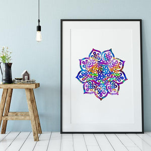 Mandala Print Watercolor Wall Art Yoga Meditation Room Decor - PrintsFinds