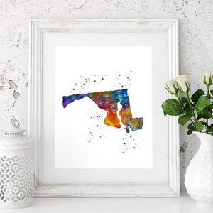 Maryland MD USA State Map Watercolor Print - PrintsFinds