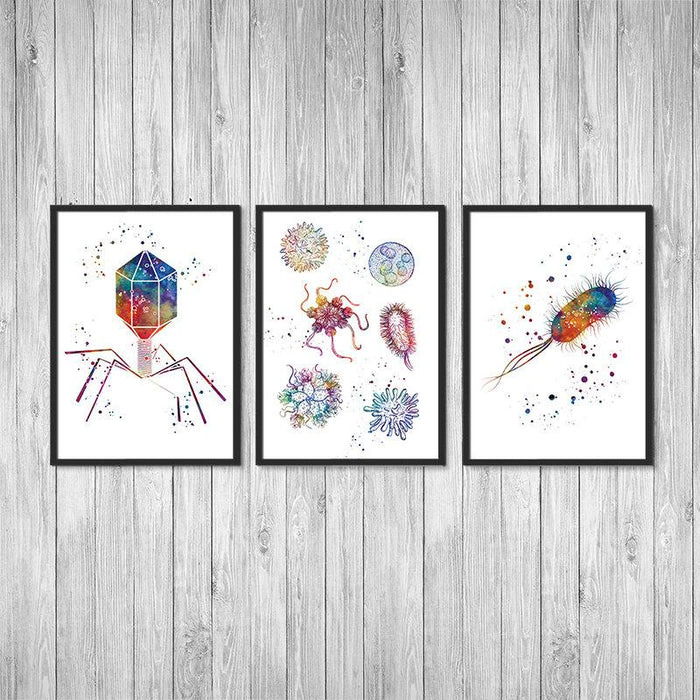 Microbiology Art Set of 3 Watercolor Prints Bacteriophage Virus E. coli Bacteria