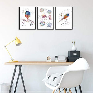 Microbiology Art Set of 3 Watercolor Prints Bacteriophage Virus E. coli Bacteria - PrintsFinds