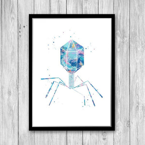 Microbiology Art Virus Blue Watercolor Art Print - PrintsFinds