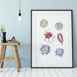 Microbiology Science Art Bacteria Watercolor Print laboratory Decor - PrintsFinds