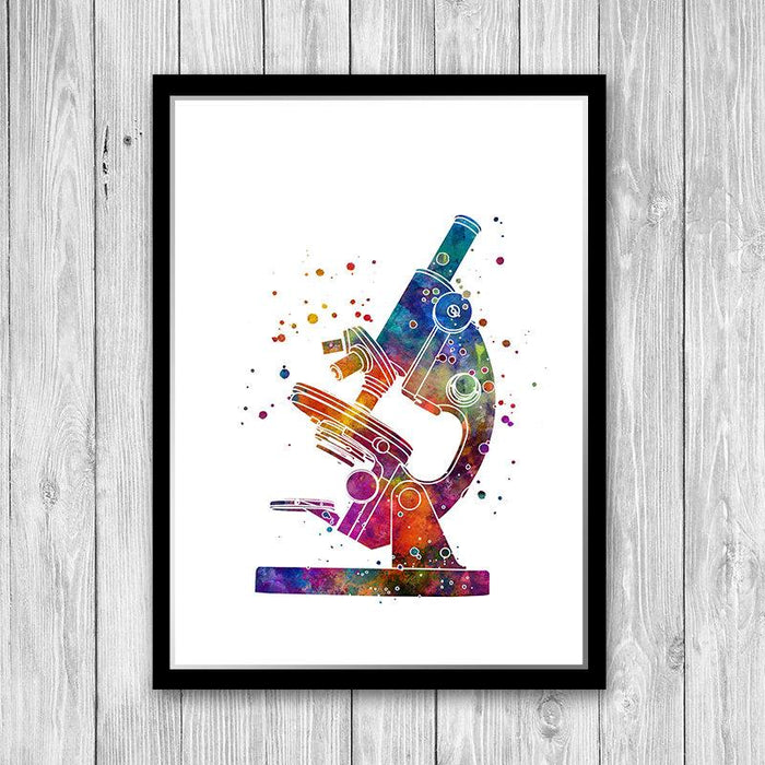 Microscope Art Watercolor Print Microbiologist Gift Lab Wall Decor Science Poster