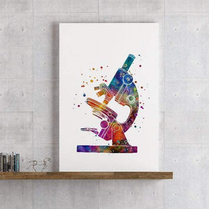Microscope Art Watercolor Print Microbiologist Gift Lab Wall Decor Science Poster - PrintsFinds