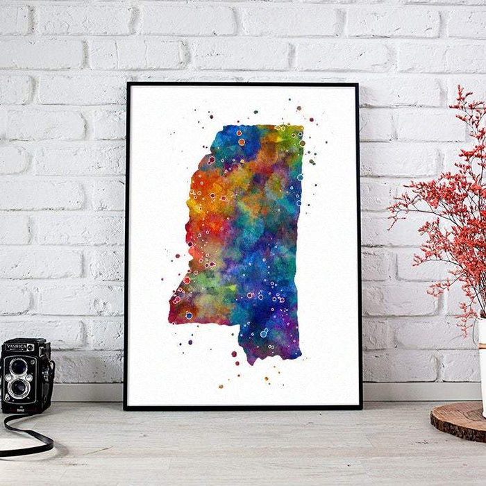Mississippi State Map Watercolor Print