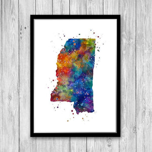 Mississippi State Map Watercolor Print - PrintsFinds