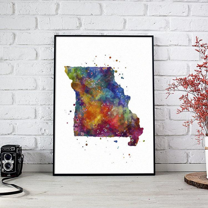 Missouri State Map Watercolor Print