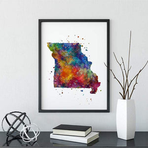Missouri State Map Watercolor Print - PrintsFinds