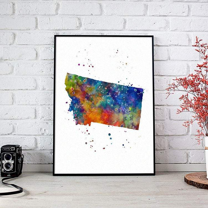 Montana state Map Watercolor Print