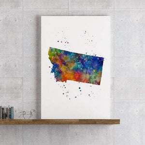 Montana state Map Watercolor Print - PrintsFinds