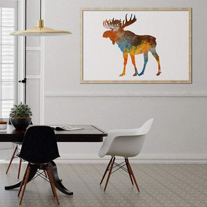 Moose silhouette watercolor print - PrintsFinds