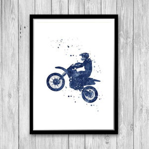 Motocross Blue Watercolor Print - PrintsFinds