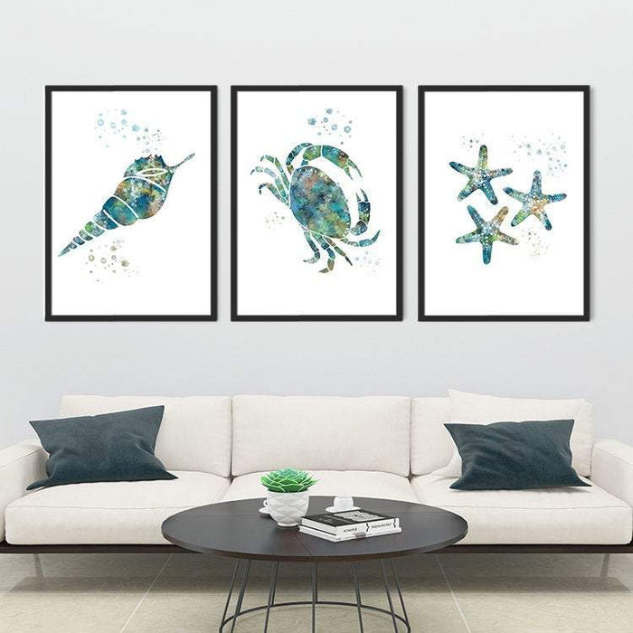 Nautical art Set of 3 Watercolor Prints Seashell, Crab, Finger Starfish