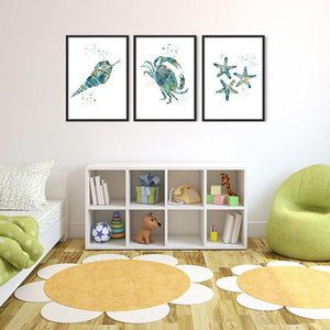 Nautical art Set of 3 Watercolor Prints Seashell, Crab, Finger Starfish - PrintsFinds