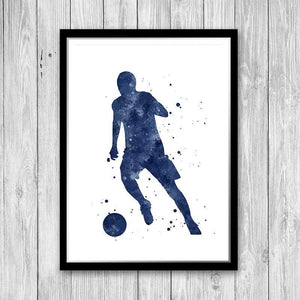 Navy blue Sports decor European football Soccer Player - PrintsFinds
