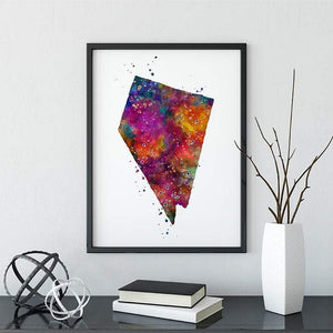 Nevada state Map Watercolor Print - PrintsFinds