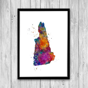 New Hampshire State Map Watercolor Print - PrintsFinds