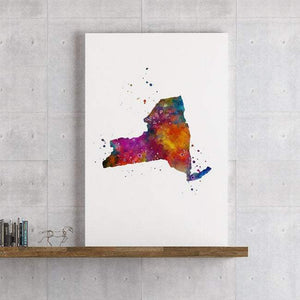 New York state Map Watercolor Print - PrintsFinds