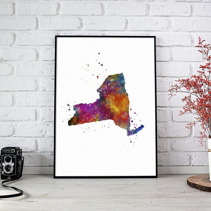 New York state Map Watercolor Print
