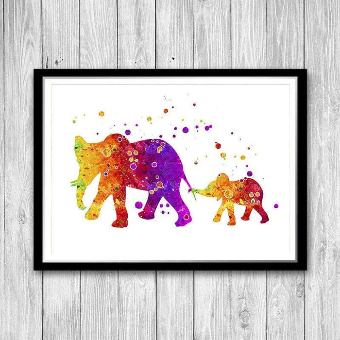 Nursery Elephant Wall Art Decor Mom And Baby Watercolor Print