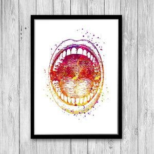 Open Mouth Watercolor Anatomy Art Print - PrintsFinds
