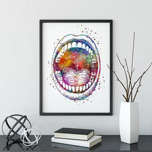 Oral Cavity Open Mouth Watercolor Print - PrintsFinds