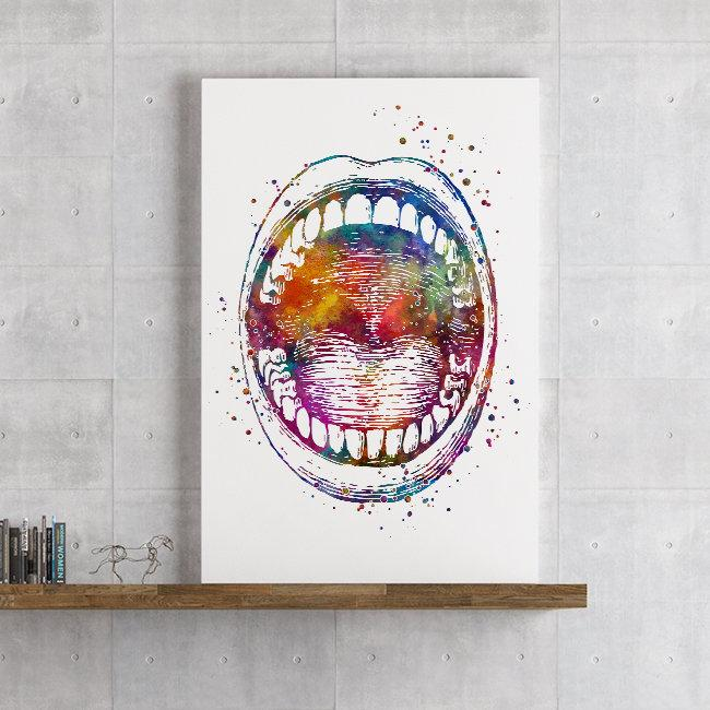 Oral Cavity Open Mouth Watercolor Print