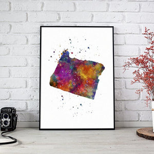 Oregon state map Watercolor Print - PrintsFinds