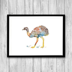 Ostrich Watercolor Print Animal Art for Kids Room - PrintsFinds