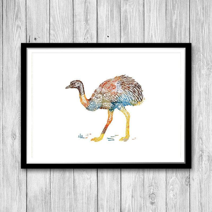 Ostrich Watercolor Print Animal Art for Kids Room