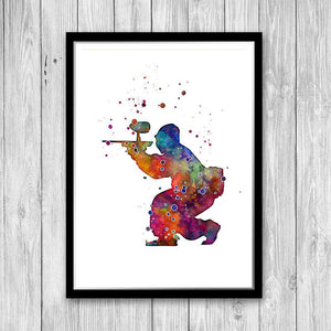 Paintball Player Watercolor Print - PrintsFinds
