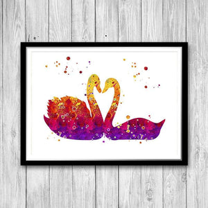 Pair Of Swans Gift for Couple Swans In Love Watercolor Art Print - PrintsFinds