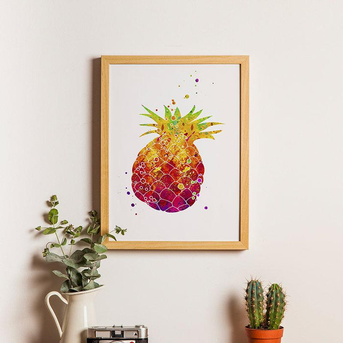 Pineapple Watercolor Print, Tropical Kitchen Decor