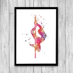 Pole Dance Art Watercolor Painting Print - PrintsFinds