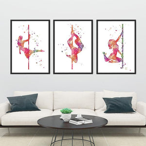 Pole Dance Set of 3 Girls Pole Dancers Watercolor Art Print - PrintsFinds