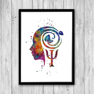 Psychology art watercolor print - PrintsFinds