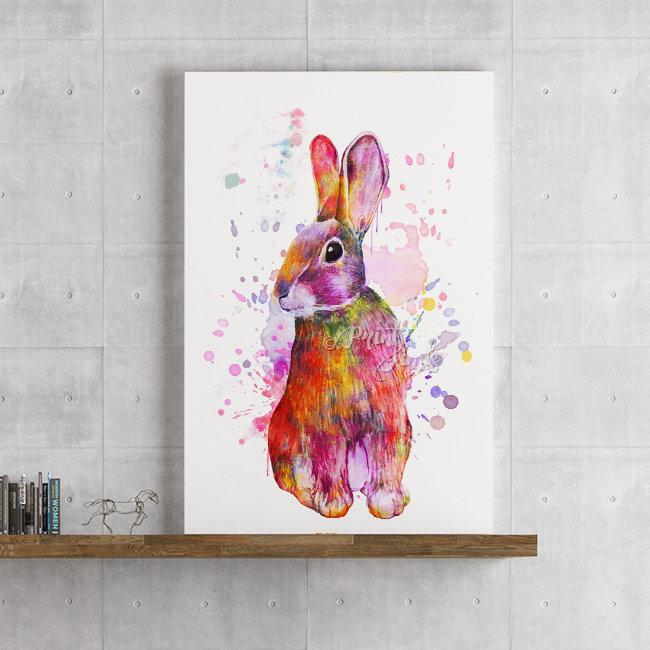 Rabbit Watercolor Animal Art Print for Kids Room