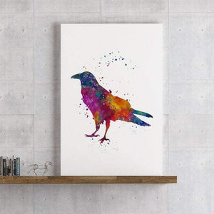 Raven Watercolor Print Crow Bird Home Decor, Wall Art for living Room - PrintsFinds