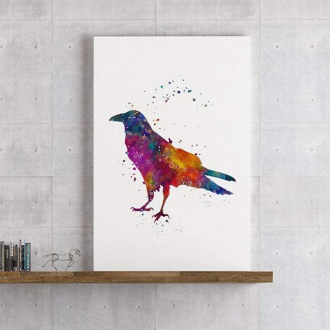 Raven Watercolor Print Crow Bird Home Decor, Wall Art for living Room