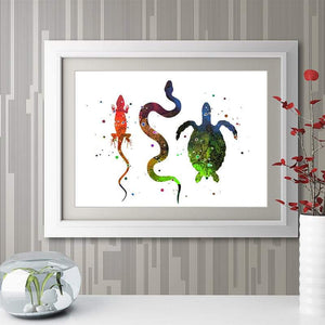Reptiles Print Lizard Snake and Turtle Watercolor wall art - PrintsFinds