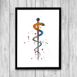 Rod of Asclepius Watercolor Print Healing and Medicine Symbol - PrintsFinds